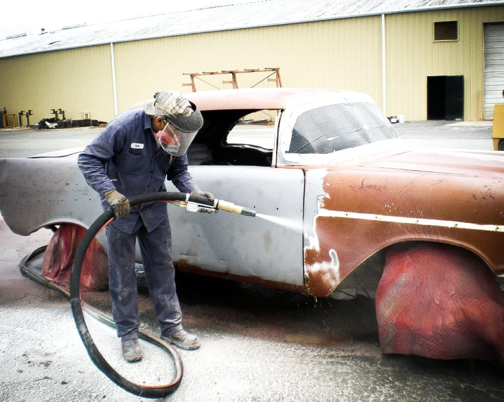 Wolverine Dustless Blasting can remove paint, rust and body filler