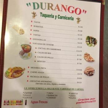 Photo Of Durango Taqueria Y Carniceria Auburn Al United States Menu