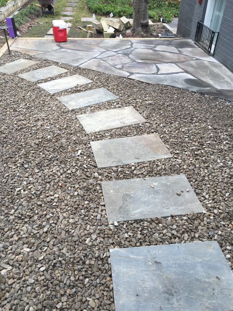 Decorative Stone Patios : Simple yet refined pathway steppers set in a decorative