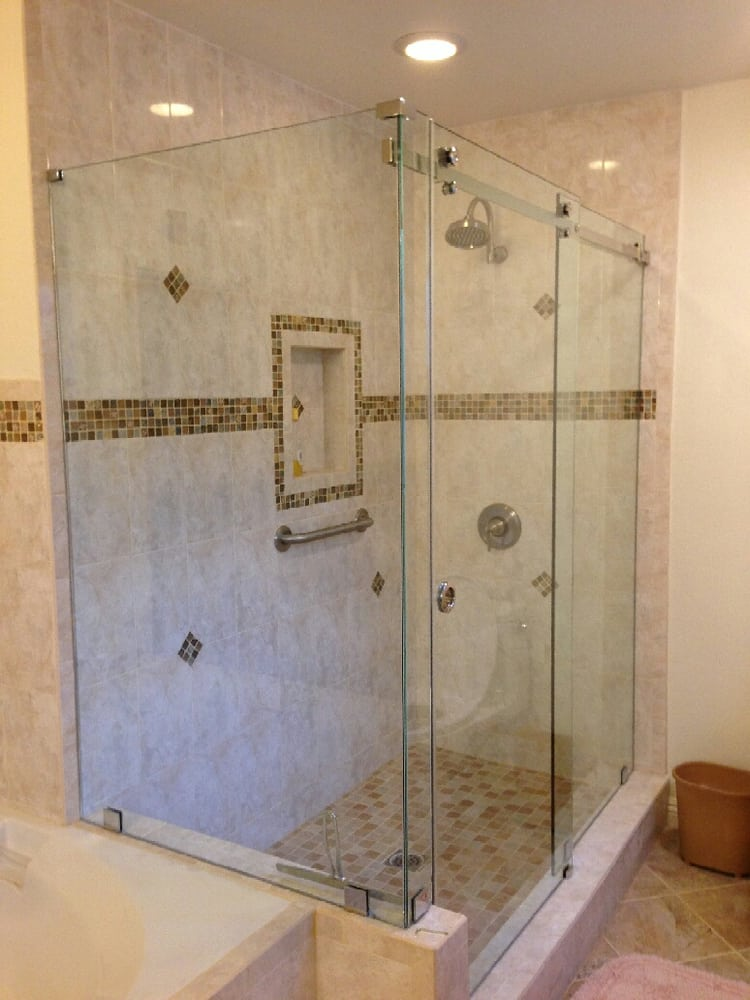 3 8 quot clear tempered glass frameless serenity series sliding shower door with return panel yelp