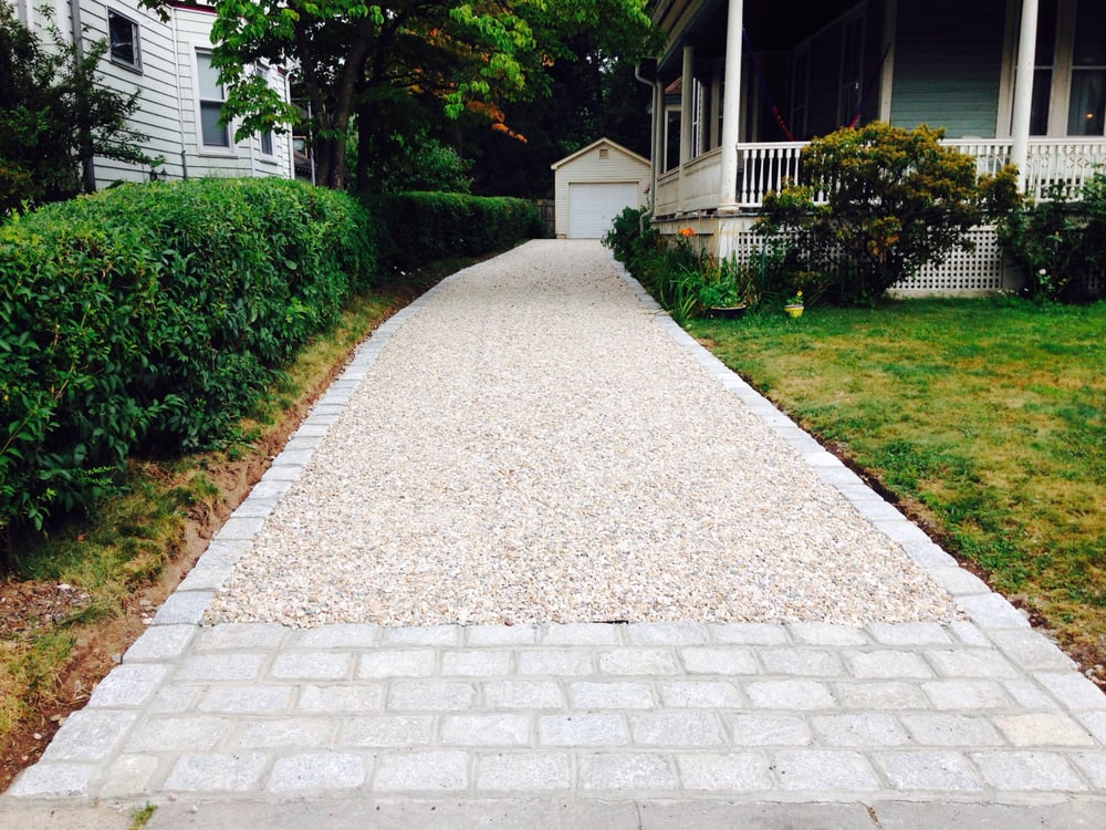 New Gravel Driveway With Granite Belgium Block Apron And