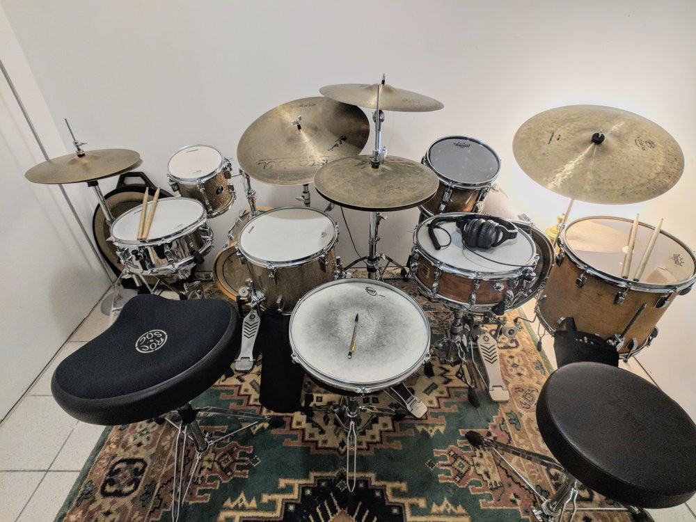 Studio space uses 2 drums side by side for quicker learning