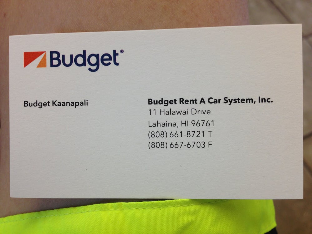 Budget Rent A Car Business Card - Yelp