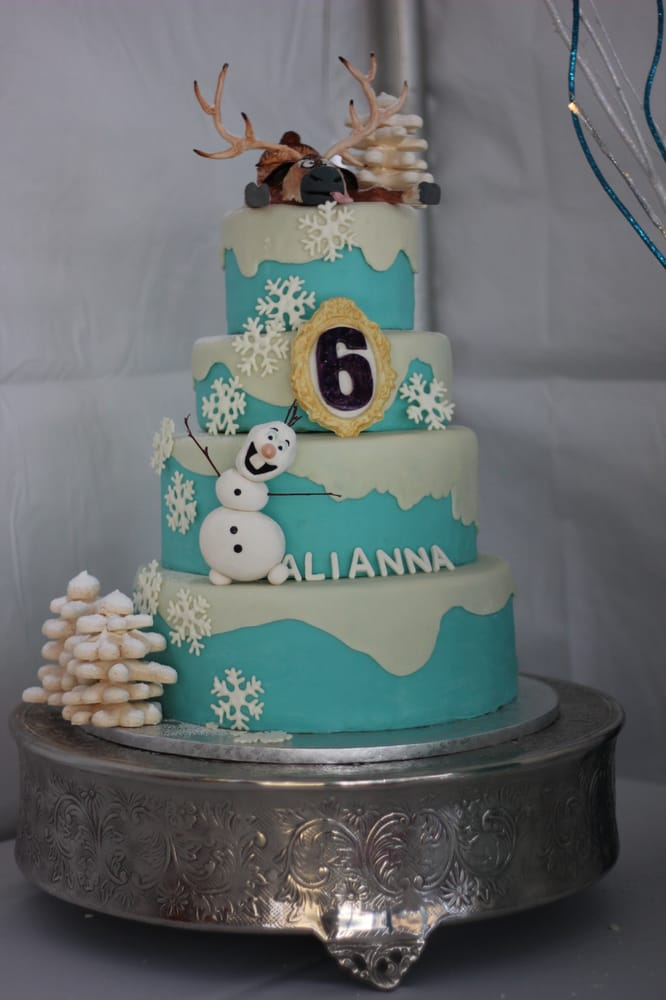 Frozen Themed Birthday Cake Sugar Paste Figures Meringue Trees Yelp