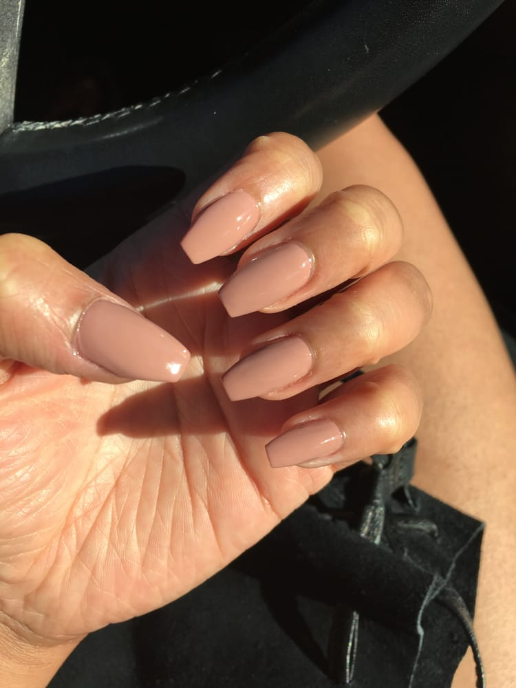 Nude coffin shaped acrylic nails by Bennie. - Yelp