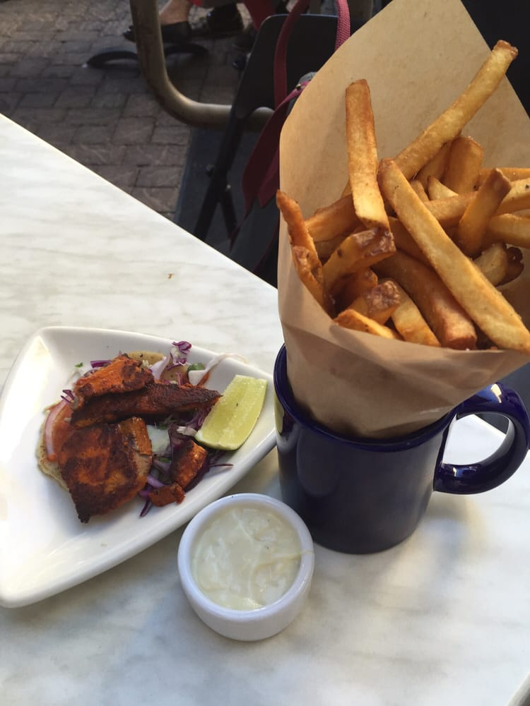 Friday evening meal fish taco and a side of fries with for Fish taco aioli