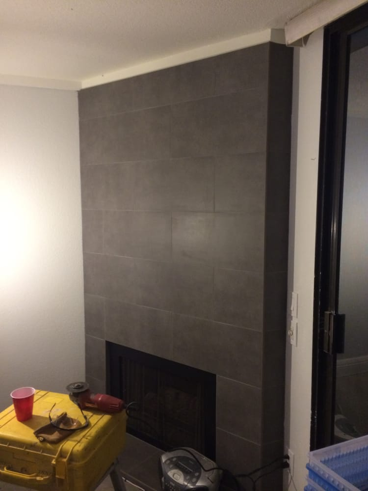 12 X 24 Porcelain Tile On Fireplace Wall And Hearth Yelp