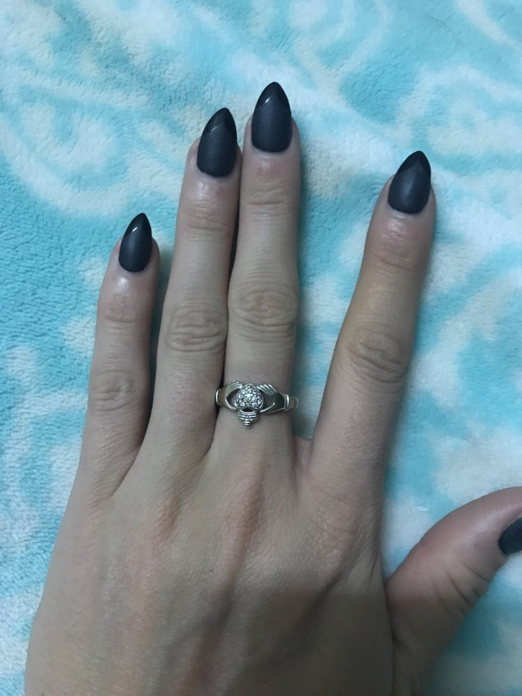 Matte black with shiny French tip by LoAnn at Nails Q - Yelp
