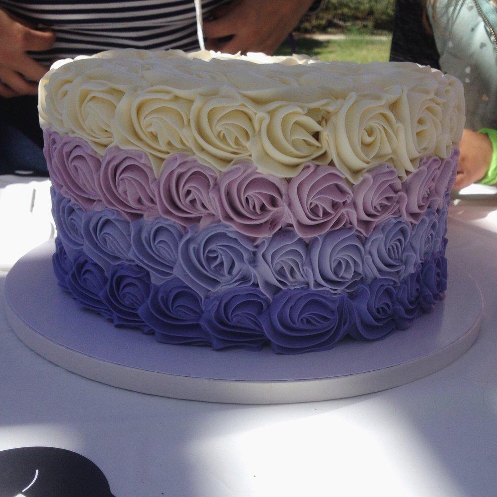 Ombre Purple Rose Birthday Cake Funfetti Vanilla Flavor Was Even