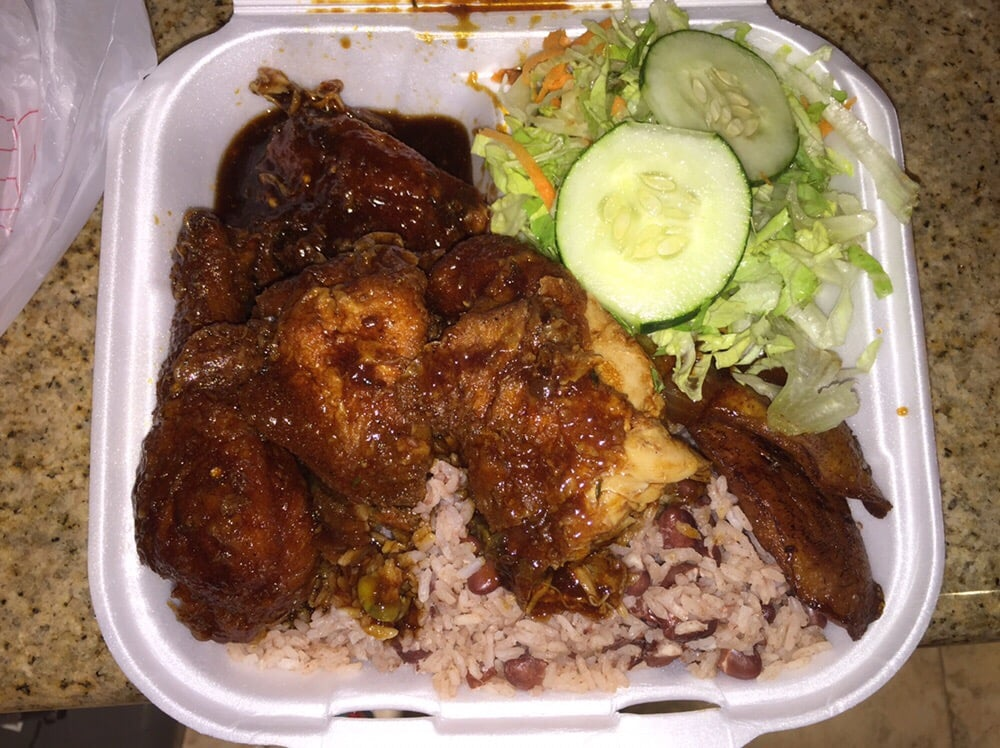 stewed chicken with rice and peas plantains and salad  yelp
