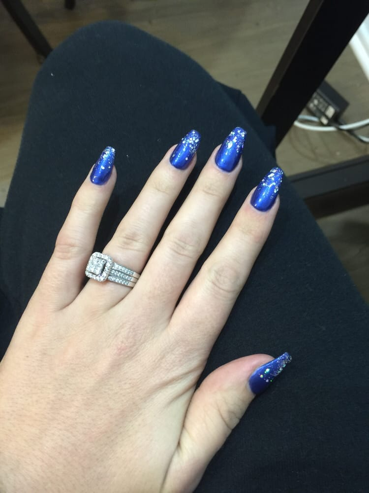 Dark blue coffin shape with glittery tips! Love them!!! - Yelp