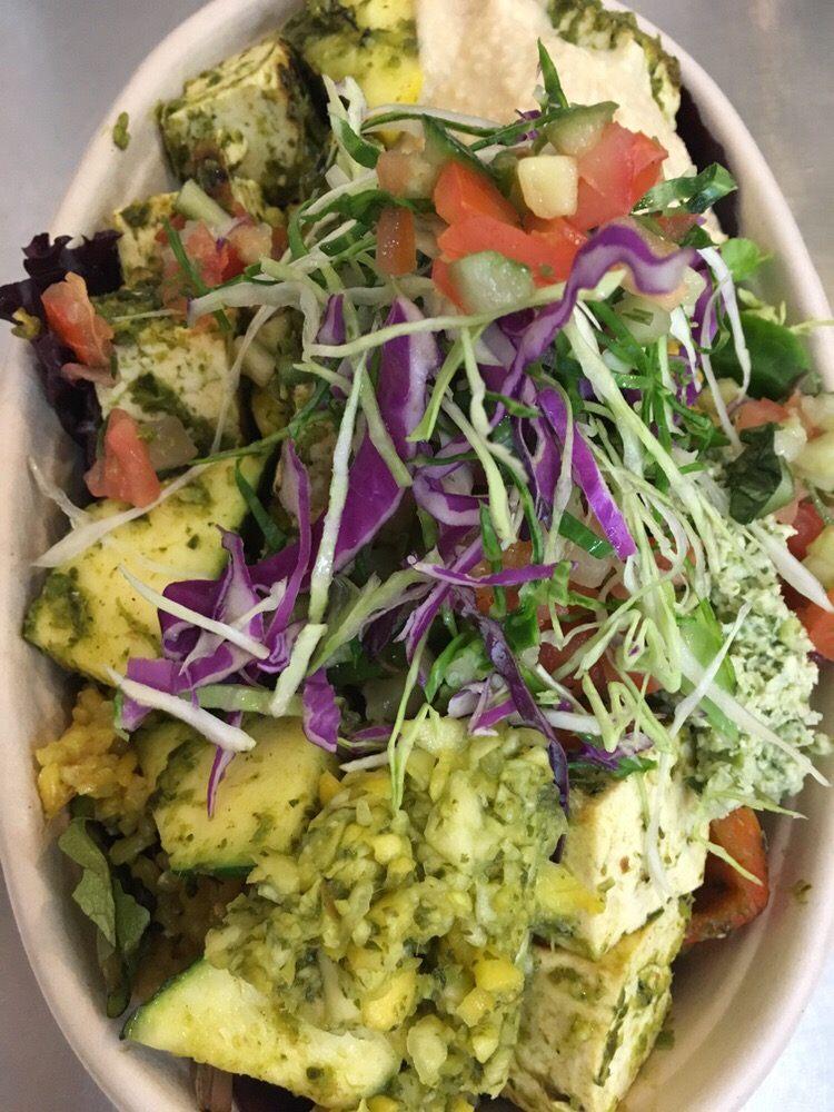 Mix greens Brown Rice and Moroccan Tofu Bowl #masala bay - Yelp