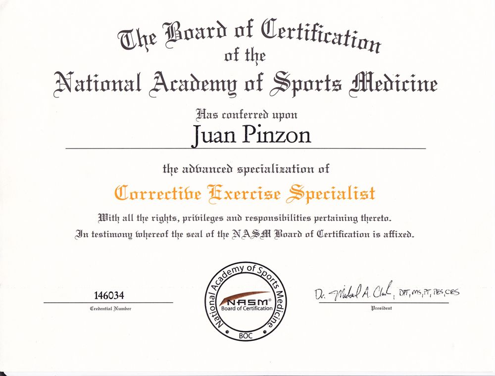Corrective Exercise Specialist From The National Academy Of Sports