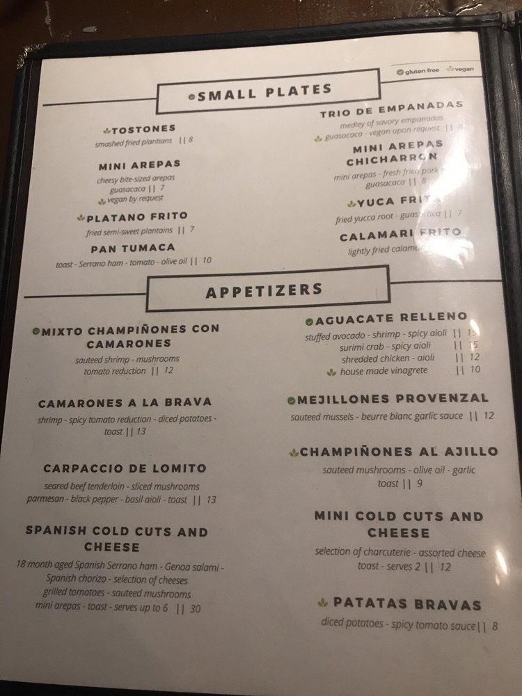 Online Menu Of La Terraza Rum Lounge Restaurant Little
