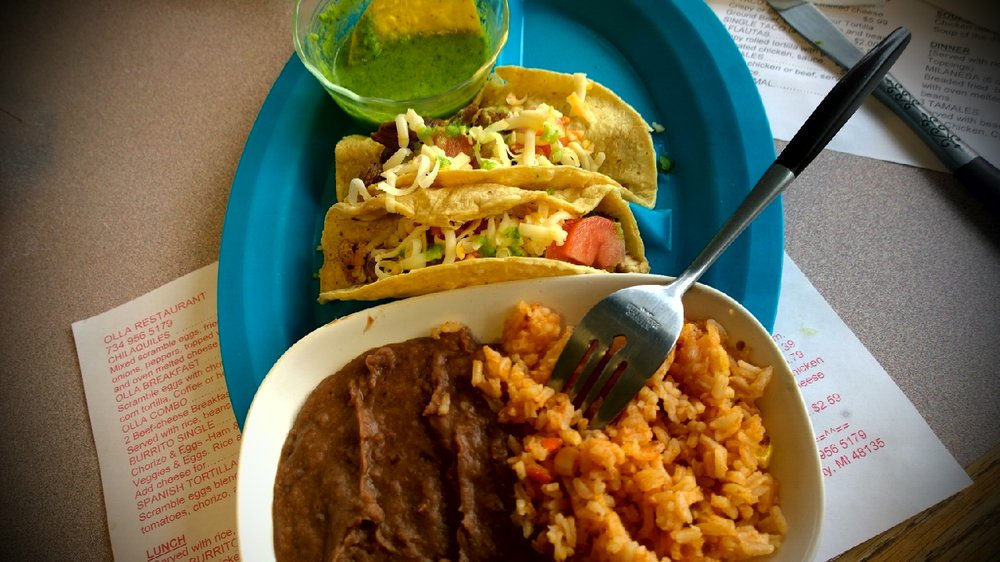 Taco lunch special 5 fifty 2 tacos rice and beans got a asada and pollo delicious yelp for Mexican restaurant garden city