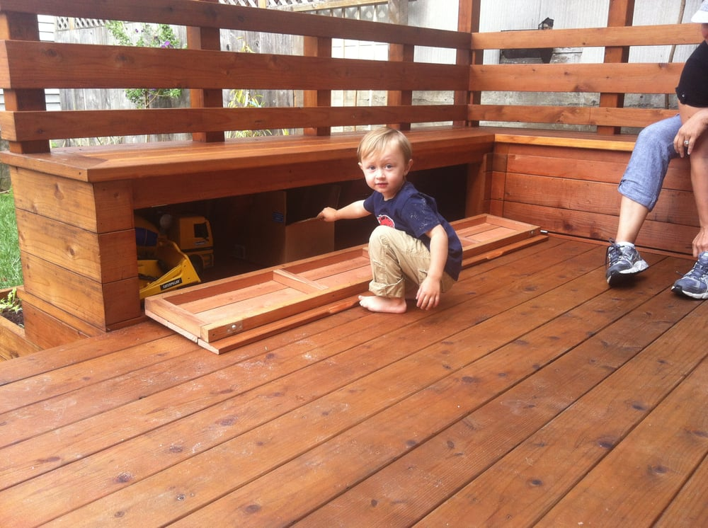 Redwood Deck With Built In Benches And Storage Yelp