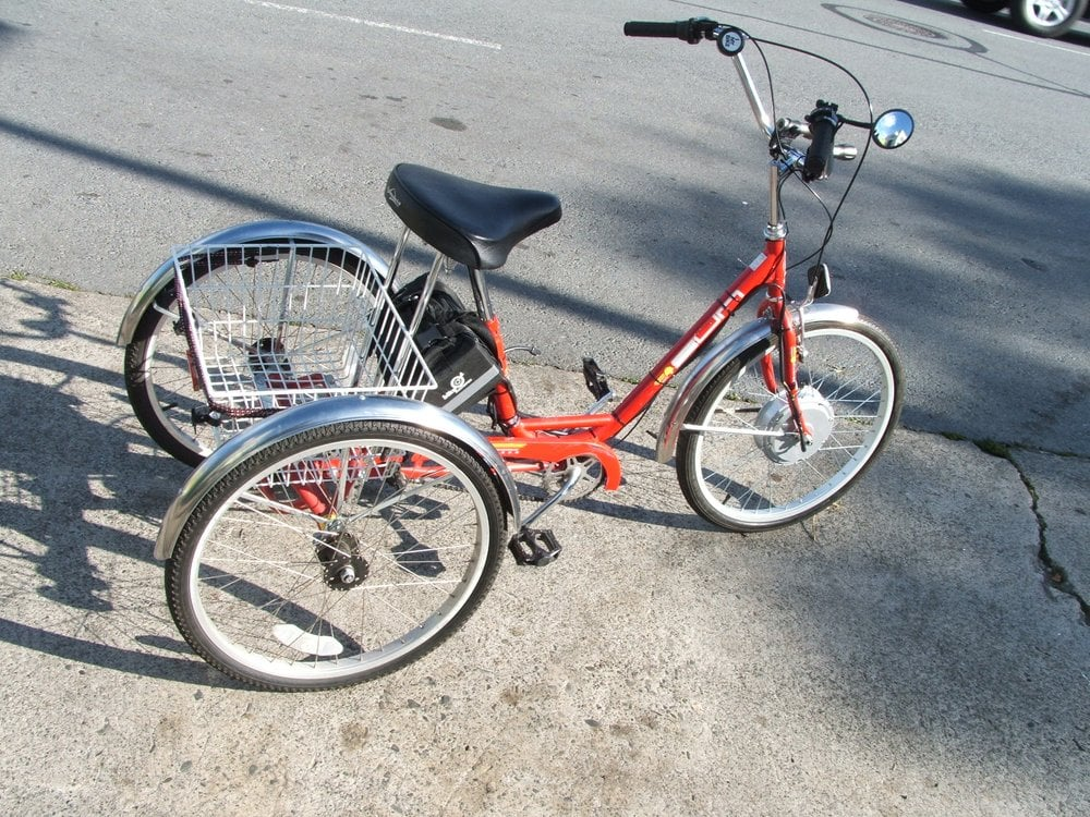Sun tricycle w front hub motor yelp for Motorized bicycle shops near me