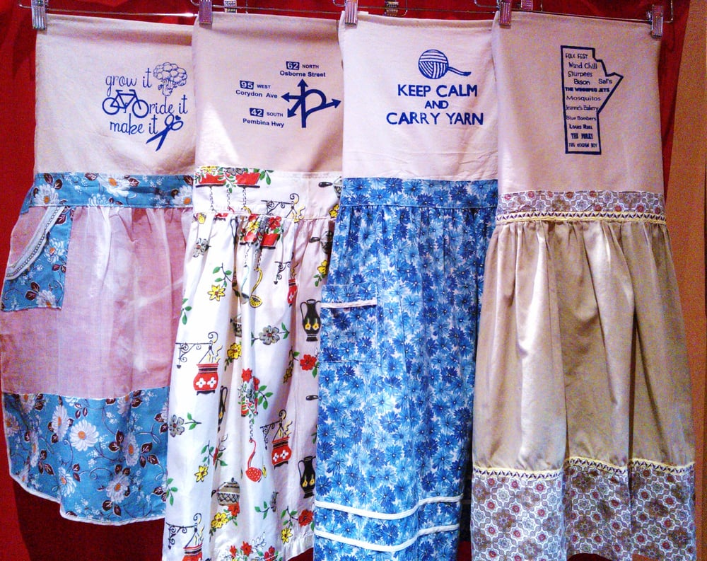 Upcycled vintage aprons silk screened with unique designs for Silk screen shirts near me