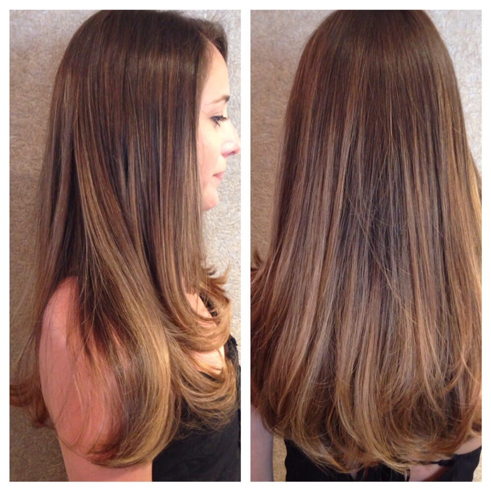 Beautiful Brunette Color Plus Balayaged Highlights To Create A