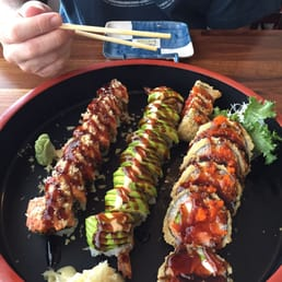 Momoyama Sushi House - Nanuet, NY, United States. L-R: Fire dragon roll (#80), Shrimp roll (#87), Godzilla roll