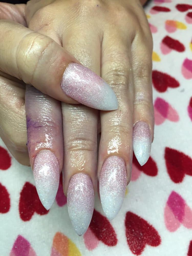Light pink glitter acrylic fading into white glitter acrylic ...