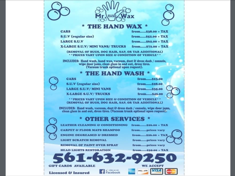 Car Wax Near Me >> Mr Hand Wax - Car Wash - 801 N Congress Ave, Boynton Beach ...