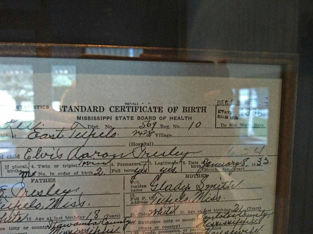 Birth Certificate Of Elvis Aaron Presley Born On January 8 1932 Yelp
