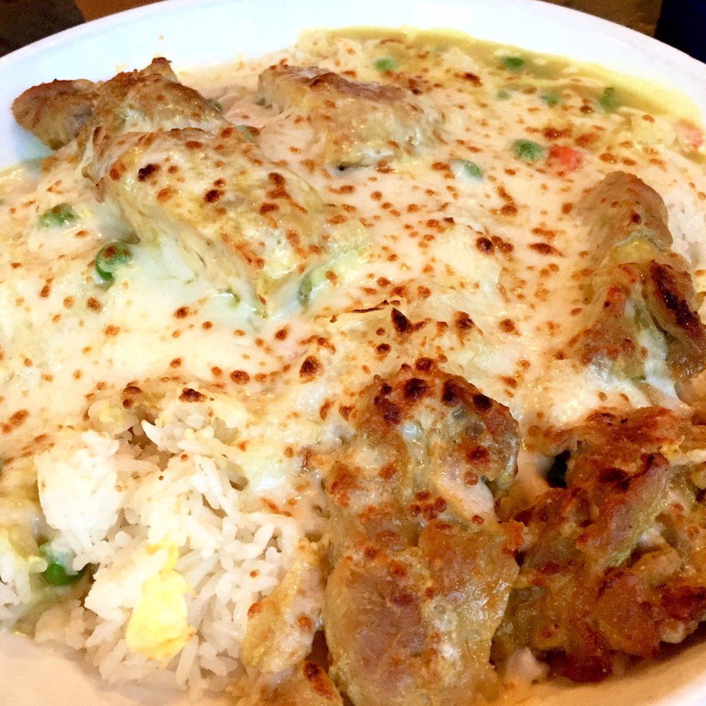 Portuguese baked chicken with rice -- cheesy and gigantic  - Yelp