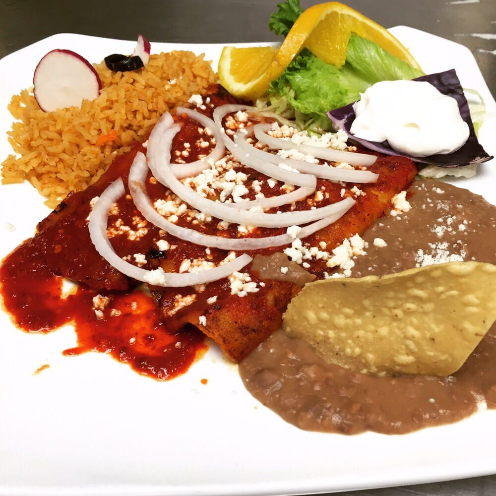 ... enchiladas stuffed with Queso fresco and smothered in a smokey red