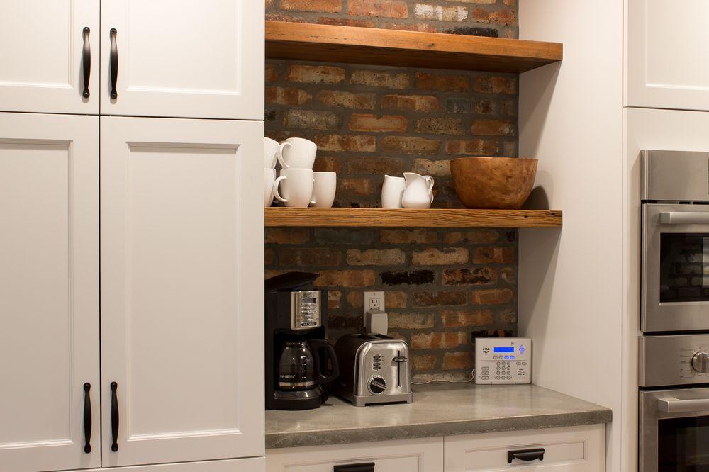 Kitchen Craft Cabinets In Alabaster Brick Backsplash