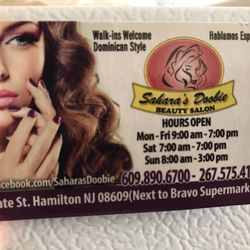 Saharas doobie beauty salon nail salons 1529 e state st trenton photo of saharas doobie beauty salon trenton nj united states business card reheart Image collections