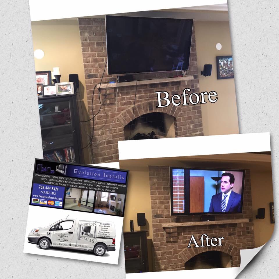 A Before And After Tv Mounting Service On Brick Fireplace With Evolution Of Home Wiring Photo Music Installs Tinley Park Il United States