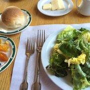 Photo of La Casa Rosa - San Juan Bautista, CA, United States. Salad, fresh baked rolls and jam from the jam bar