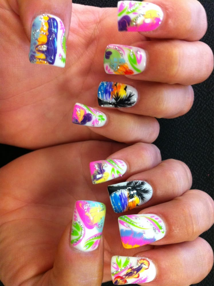 Nail art and marbled designs with summer colors, palm trees on ring ...