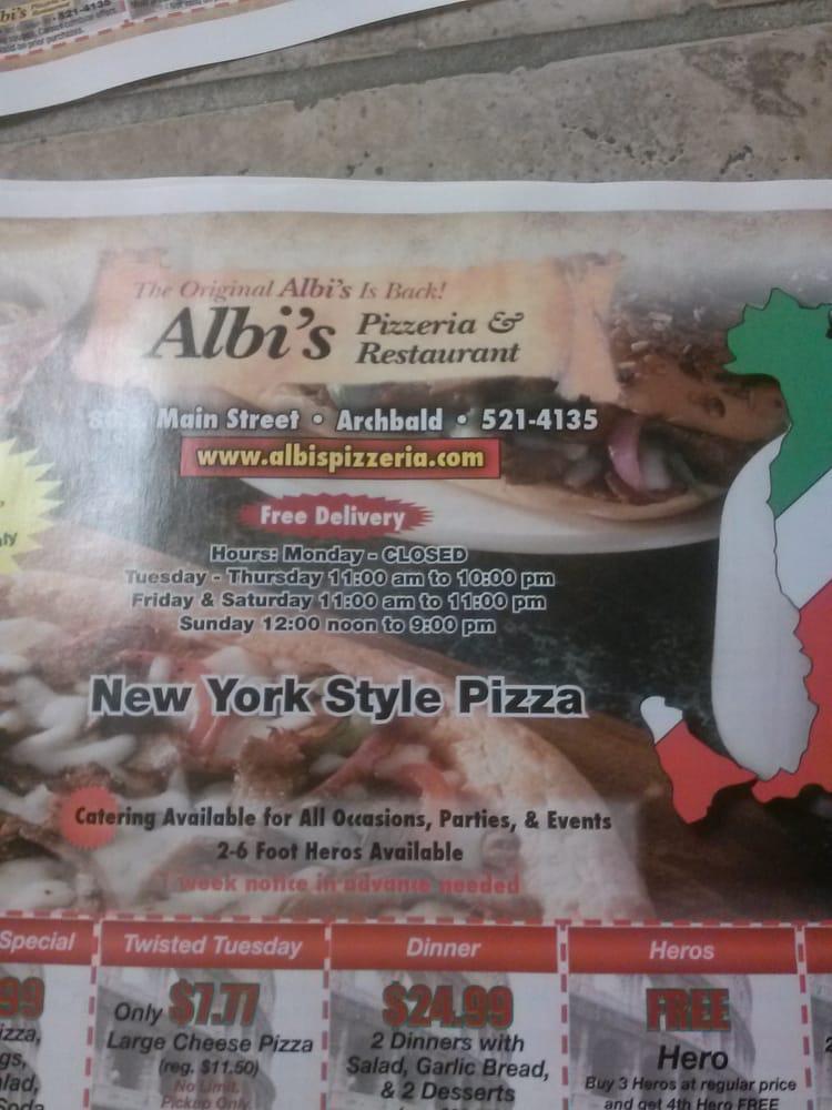 Albi's Pizzeria: Archbald, PA