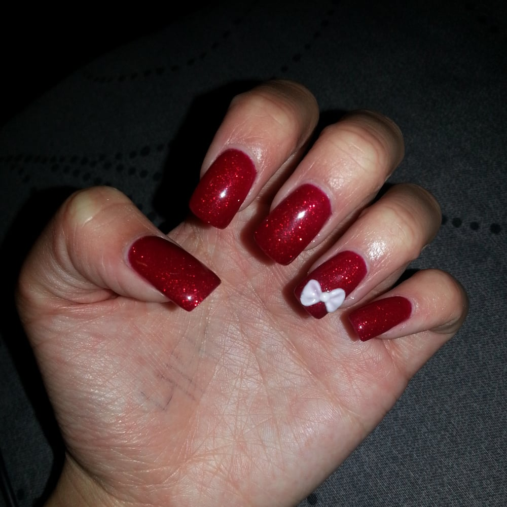 Acrylic nails with gel red glitter #63 done by Vi - Yelp