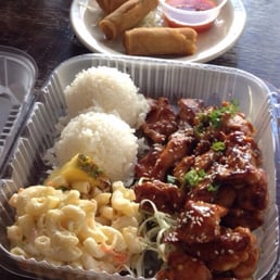 ... Veggie rolls; Koko rice box B: grilled spicy chicken w/coconut rice