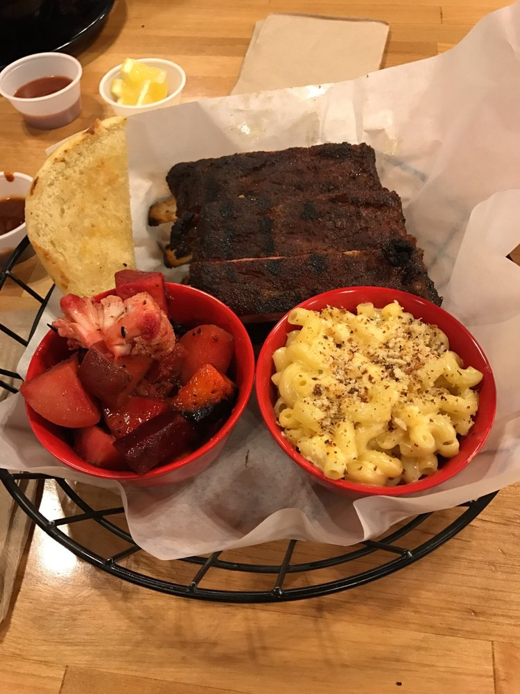 Half rack ribs with mac and cheese and roasted seasonal veggies - Yelp