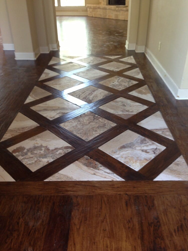 Basket Weave Hickory Flooring With Travertine Tile Entry