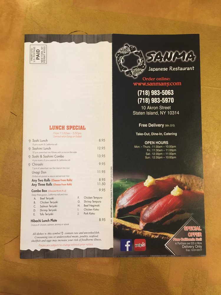 Online Menu Of Sanma Japanese Restaurant Restaurant Staten