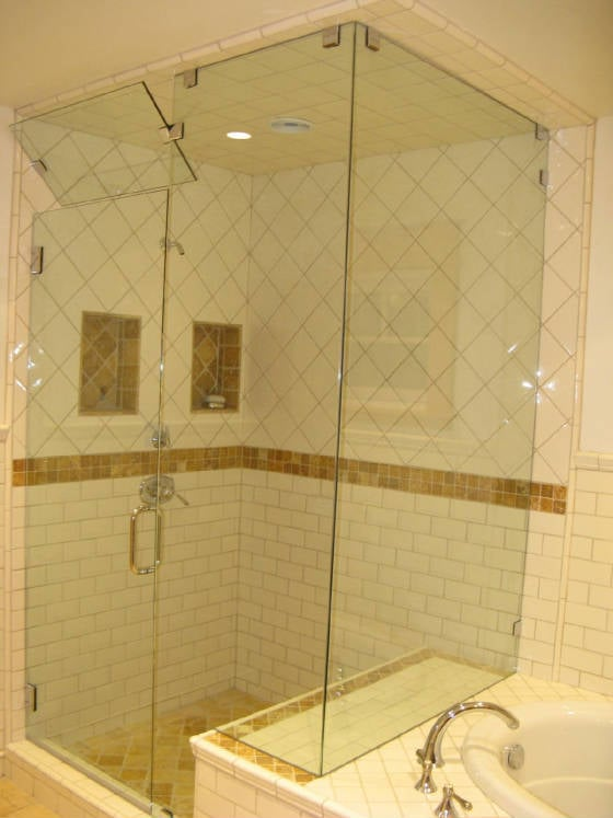frameless steam shower with transom - Yelp