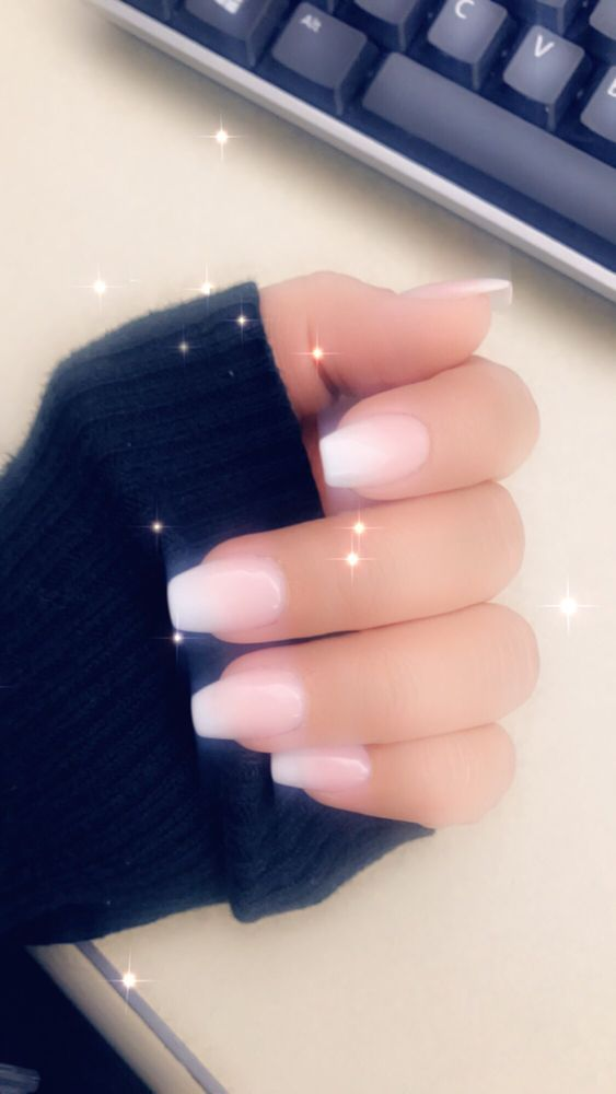 Ombré French Tipshorter Nails But Coffin Style Yelp