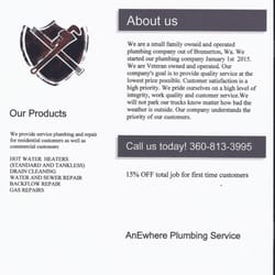 AnEwhere Plumbing - Plumbing - Bremerton, WA - Phone Number - Yelp