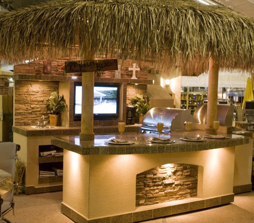 Outdoor Gas Lamp Repair Near Me: Picture Of Complete Outdoor Kitchen, Palapa Featuring A