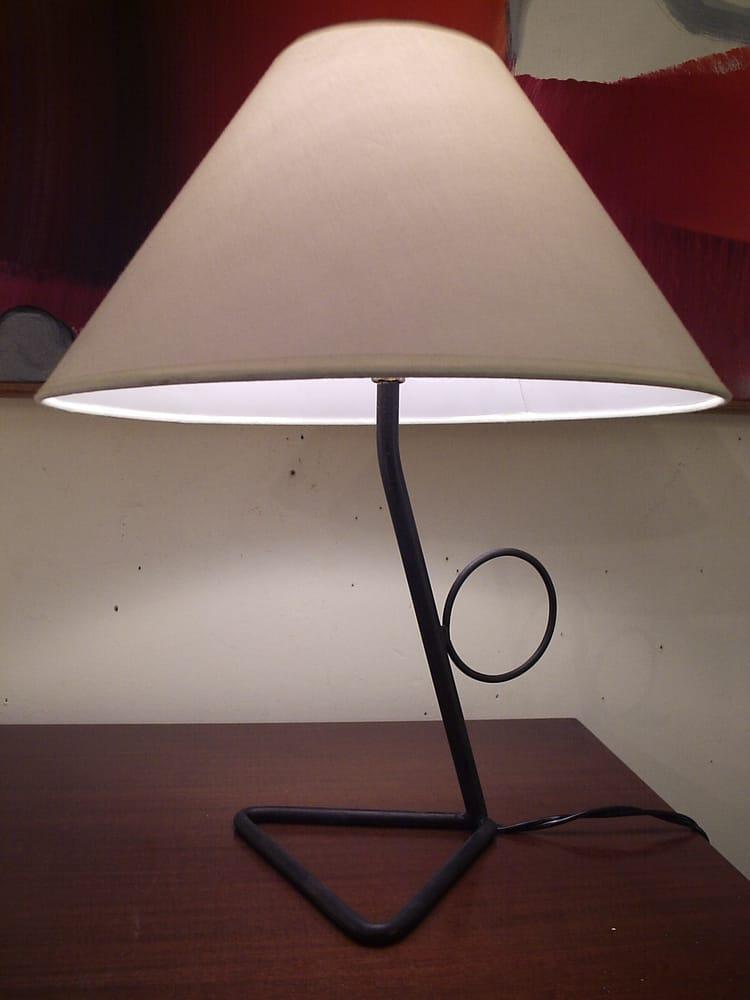 Lampe de salon design 1950, structure métal laqué noir ...