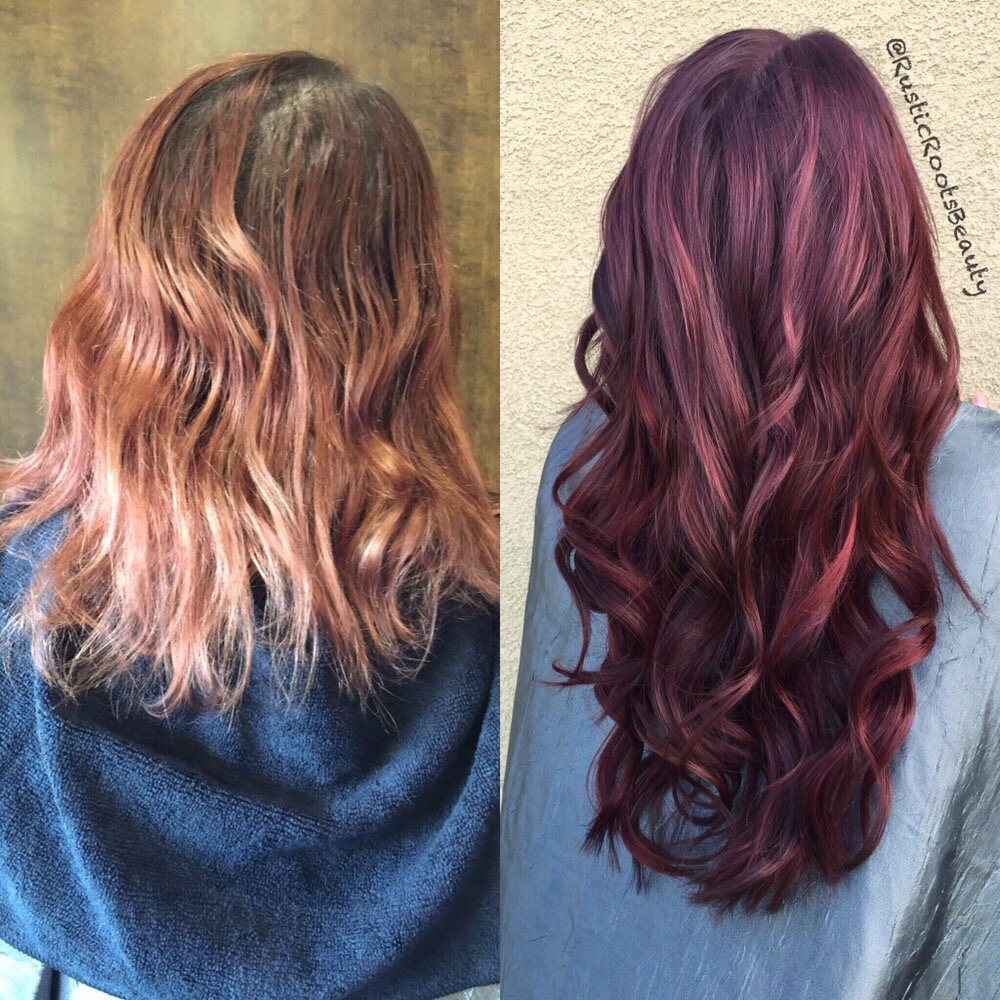 Before After Hair Extensions With Red And Violet Creative Color Yelp