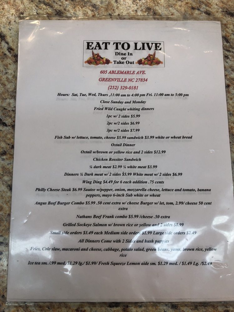 Eat To Live: 605 Ablemarle Ave, Greenville, NC