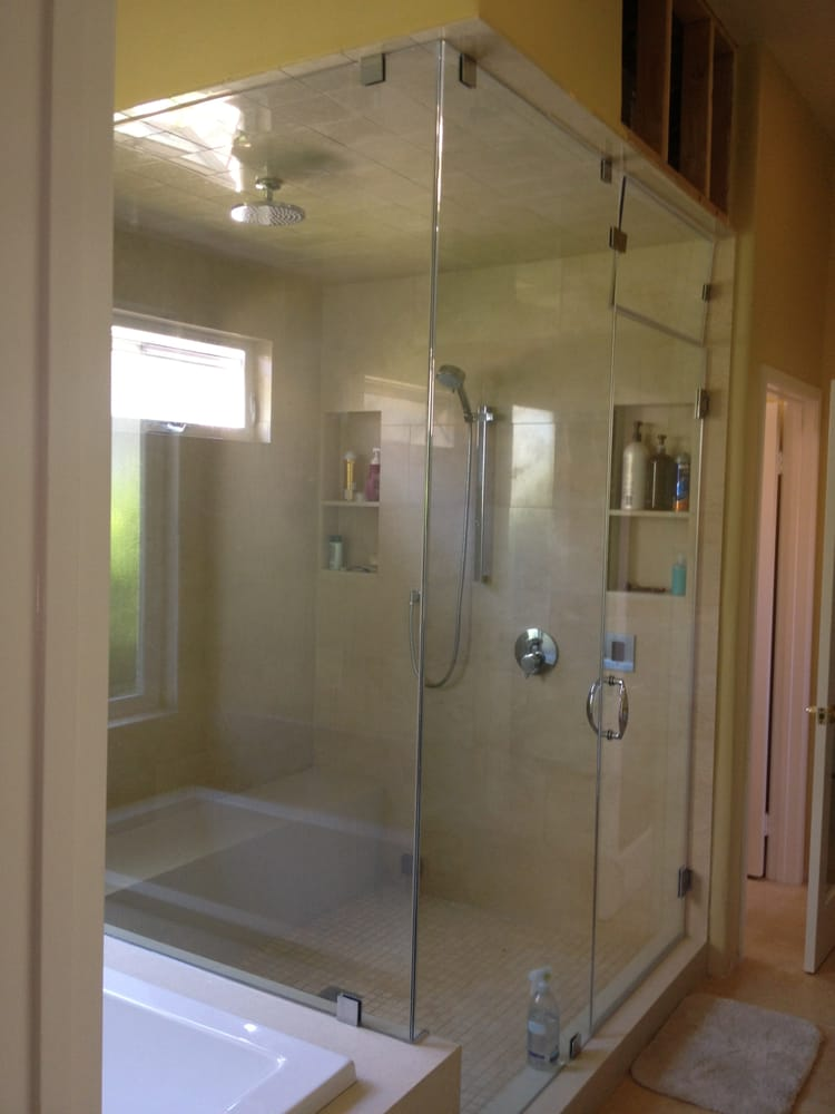 Frameless Steam shower door with movable transom - Yelp