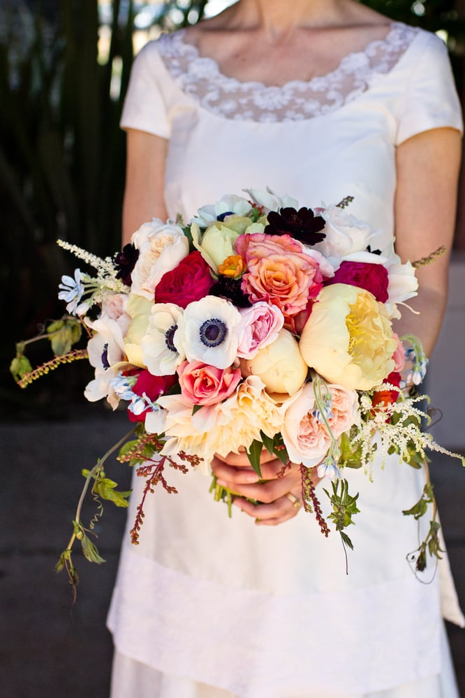 Bridal bouquet with peonies, garden roses, chocolate cosmos, astilbe ...