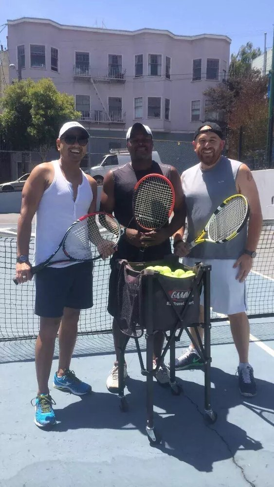 Photo of Tennis Lessons By Mcclain - San Francisco, CA, United States. Coach Mcclain and his favorite clients Richard and Stevie